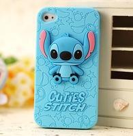 """Голубой силиконовый чехол """"Ститч"""" для Iphone 4/4S"""