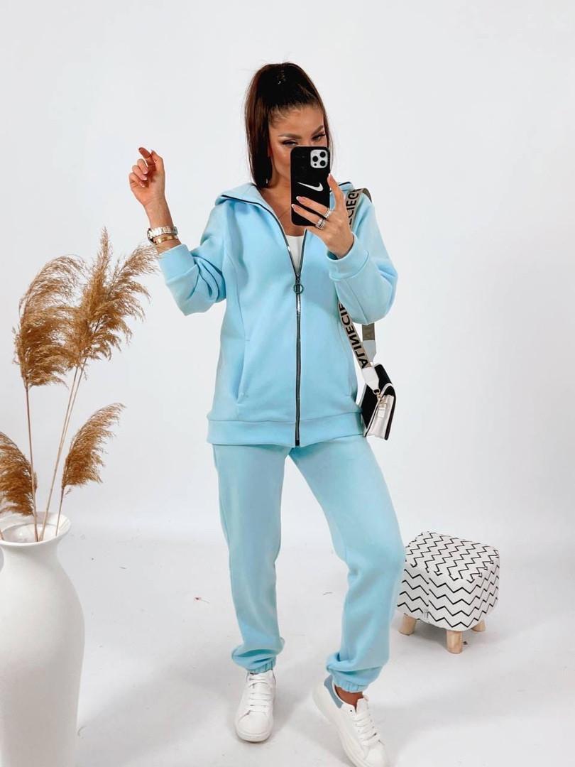 Жіночий теплий костюм на флісі Блакитний