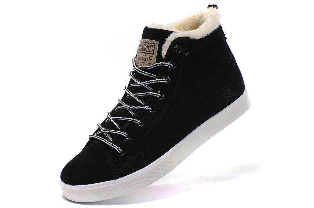 e22680ccc7a1 Мужские зимние кроссовки в стиле Adidas Ransom Fur высокие черные замша мех  - Интернет-магазин