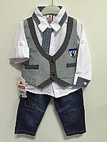 Костюм для мальчика тройка с жилетом и галстуком р.68,74, фото 1