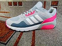 Мужские повседневные кроссовки Adidas NEO серые малиновым, фото 1