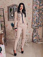 Классические женские брюки из ткани коттон-мэмори
