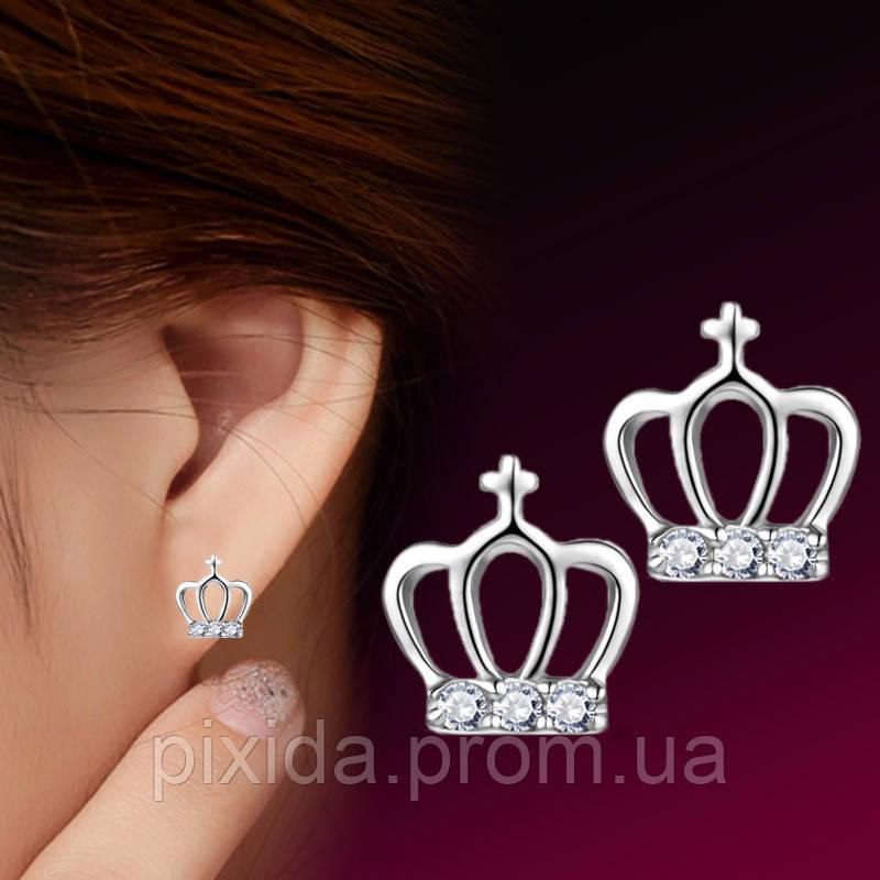 Сережки гвоздики корона фианиты покрытие 925 серебро проба