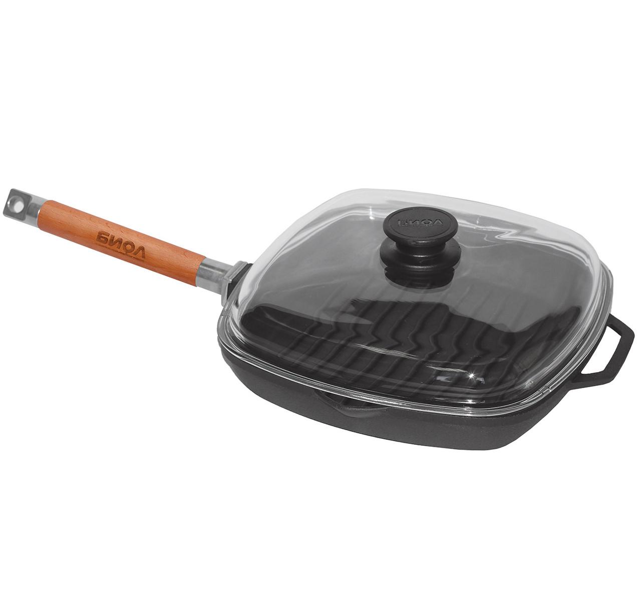 Сковорода-гриль чугунная 26х26 см со стеклянной крышкой