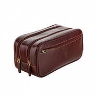 Несессер кожаный два отдела и карман Visconti Великобритания коричневый (MZ100 brown), фото 1