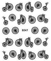 """Наклейка на ногти, наклейка для ногтей, ногтевой дизайн """"велосипедики"""" 20 шт набор"""