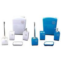 Набор акриловых аксессуаров для ванной (Голубой, белый) Kamille 8000