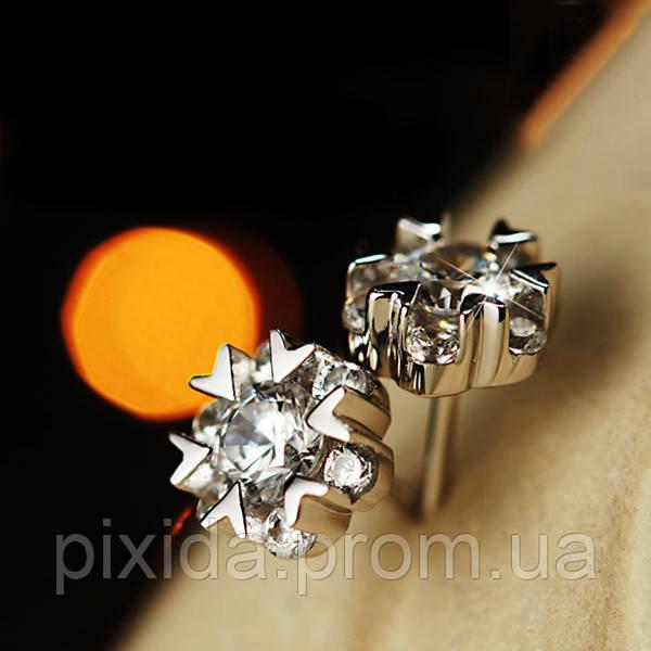 Сережки гвоздики цветочек циркон фианиты покрытие 925 серебро проба