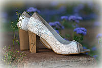 Туфли на синем каблуке. Кожа., фото 1