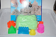 Кинетический песок  500гр зеленый в коробке с формочками башенка