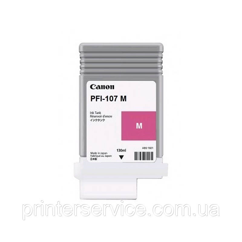 Картридж PFI-107M Magentaдля плоттера iPF 670/ 680/ 685/ 770/ 780/ 785, пурпурный, 130 мл (6707B001)