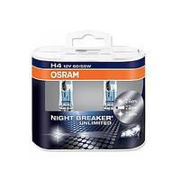 Лампа OSRAM H4 12V 60/55W P43t NIGHT BREAKER 64193 NBU BOX +110 (шт.)