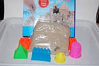 Кинетический песок  500гр серый в коробке с формочками башенка