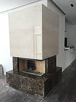 Реализованный проект фронтально-углового камина