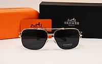 Мужские солнцезащитные очки Hermes 120811  золотая оправа