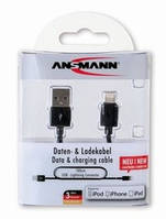 USB кабель Ansmann Lightning Connector, 1m black