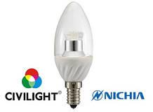 LED лампа CIVILIGHT (Сивилайт) E14 4,0W(250lm) C37 WP25V4 ceramic clear