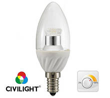 LED лампа CIVILIGHT (Сивилайт) E14 4W(290 lm) 3000K DC37 WP25T4 ceramic clear dimmable