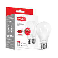 LED лампа Maxus A60 10W 4100K (950Lm) 220V E27. 2-LED-562-P. Акционная упаковка