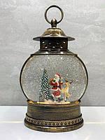 """Новогодний светильник ночник снежный шар """"Санта с олененм и зайкой"""" 25*8*4 см"""