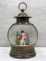 """Новогодний светильник ночник снежный шар """"Дети лепят снеговика"""" 25*8*4 см"""