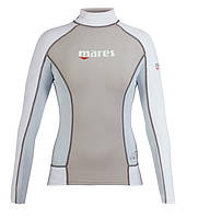 Женская лайкровая футболка для плавания Mares Rash Guard (Trilastic), длинный рукав, серая