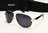 Мужские солнцезащитные очки Prada SPR 29 N цвет черный с золотом