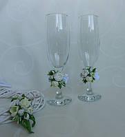 Свадебные бокалы Белые цветы, фото 1