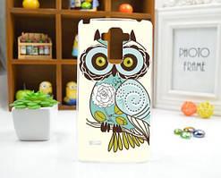 Cиликоновый чехол бампер с рисунком для LG G4 stylus H630 Сова