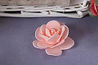 Латексная розочка раскрытая (головка) диаметр около 5 см розово-персикового цвета
