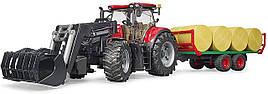 Игрушка Bruder Трактор Case IH Optum 300 CVX с прицепом для тюков (03198)
