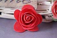 Латексная розочка раскрытая (головка) диаметр около 5 см красного цвета