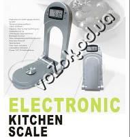 Весы кухонные электронные настенные складные H6262 до 3 кг, тарокомпенсация, часы, термометр, фото 1