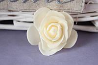 Латексная розочка раскрытая (головка) диаметр около 5 см кремового цвета