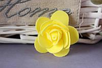 Латексная розочка раскрытая (головка) диаметр около 5 см желтого цвета