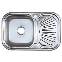 Мойка врезная кухонная 7549 Platinum декор 0,8 мм глубина 18 см