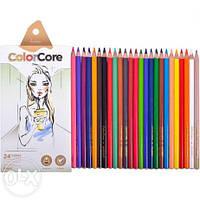 """Олівці кольорові MARCO 3130-24СВ """"ColorCone"""" 24кол + 1графітний, круглі 4мм (1/12/72)"""