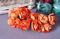 Бумажные цветочки розы 6 шт/уп. 3 см для скрапбукинга оранжевого цвета, фото 1