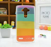 Cиликоновый чехол бампер с рисунком для LG G4 Optimus H810 H818 Радуга