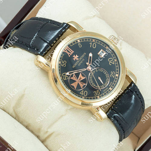 Популярные наручные часы Vacheron Constantin geneve Gold/Black 2429