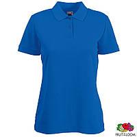 Поло  женская футболка синяя Lady-Fit Polo от Fruit of the Loom, поло-футболки оптом недорого