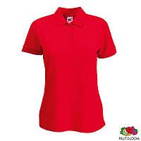 Тенниска-поло женская Lady-Fit Polo красного цвета от Fruit of the Loom, под нанесение логотипа