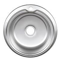 Мойка кухонная врезная круглая 51 см микро-декор Germece 0,8 мм глубина чаши 18 см