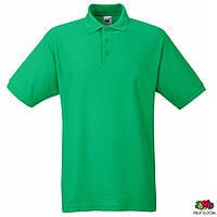 Мужская футболка-поло зелёного цвета от Fruit of the Loom, футболки-поло оптом