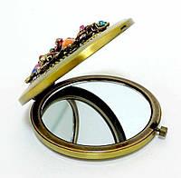 Зеркальце металлическое с камнями, кристаллами, стразами T39-1