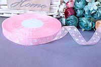 """Лента из органзы с рисунком 1.5 см """"Сердечки"""" на розовом"""