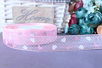 """Лента из органзы с рисунком 2 см """"Сердечки"""" на розовом"""
