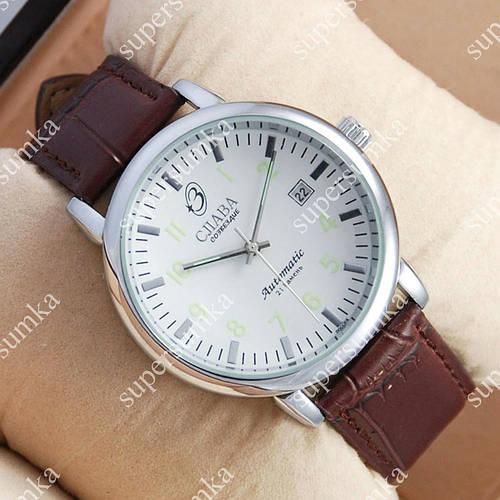 Элегантные наручные часы Слава Созвездие Mechanic Silver/White-green 2629
