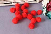 Міні-помпончики, d близько 1.5 см, 20 шт/уп., червоного кольору, фото 1
