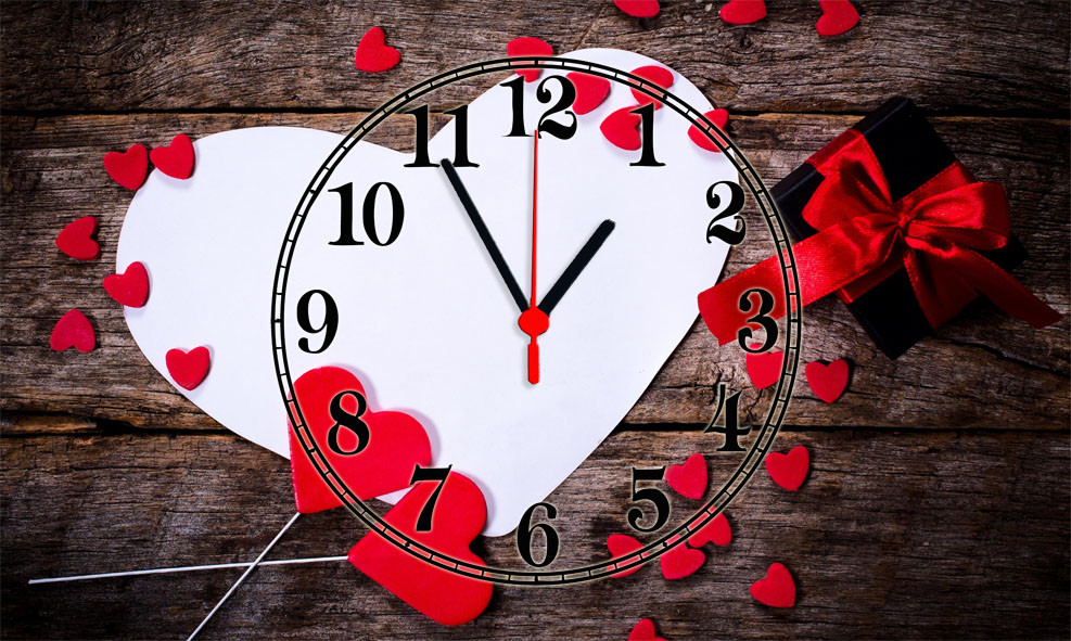 "Годинники настінні скляні ""Нearts valentines day"""